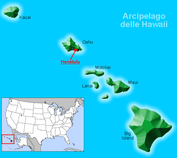 Cartina Mondo Hawaii.Isole Hawaii